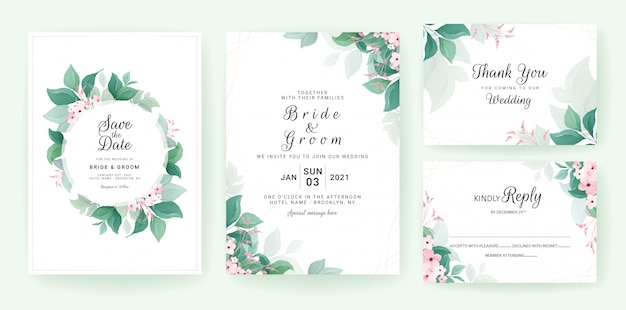 Greenery wedding invitation template set with leaves frame and border with small flowers.
