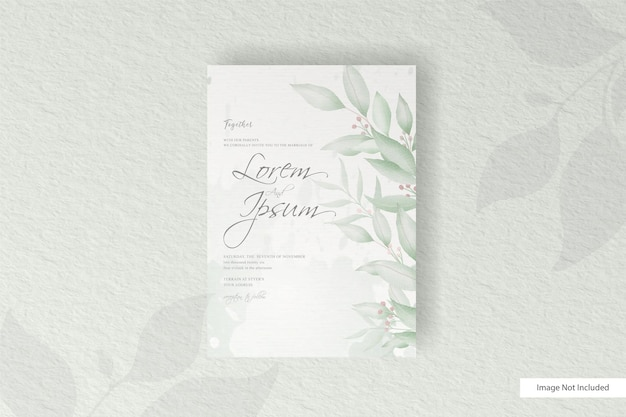 Greenery wedding invitation template