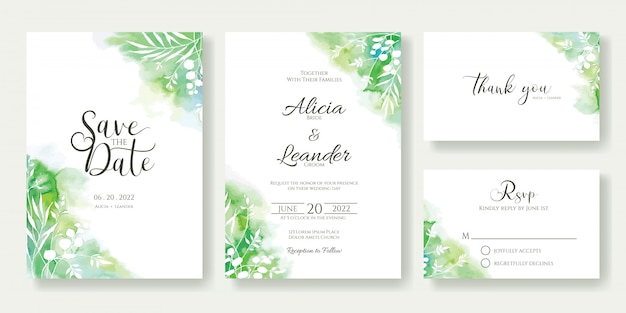 Greenery wedding invitation template.