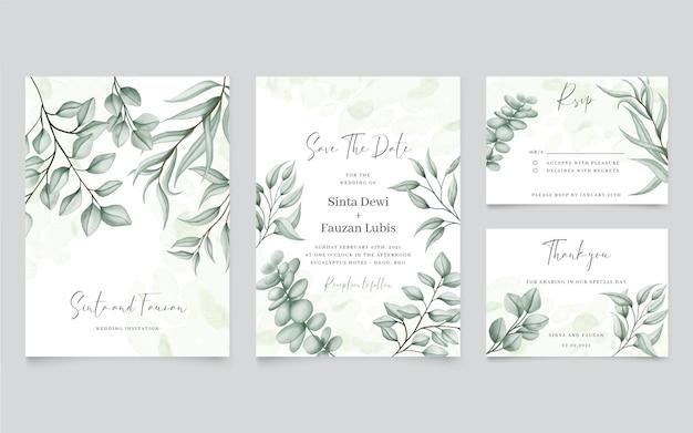 ユーカリの葉の背景と緑の結婚式の招待状
