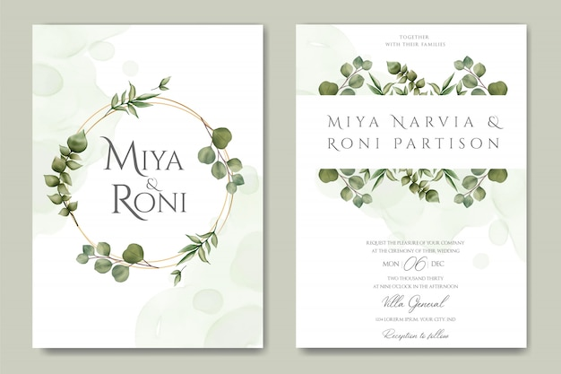 Greenery wedding invitation with eucalyptus