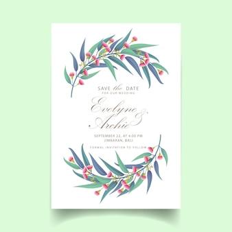 зелень свадебное приглашение с цветком эвкалипта