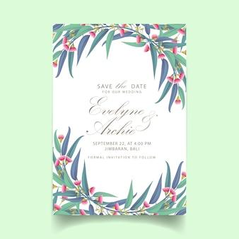 Greenery wedding invitation with flower eucalyptus
