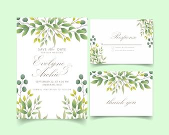 緑の結婚式の招待状