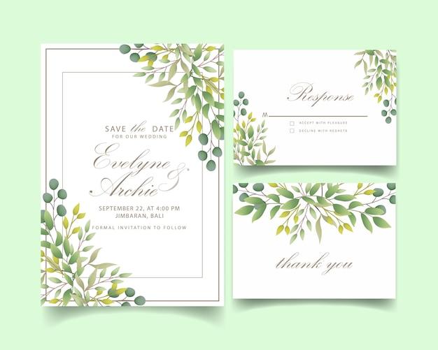 Greenery wedding invitation