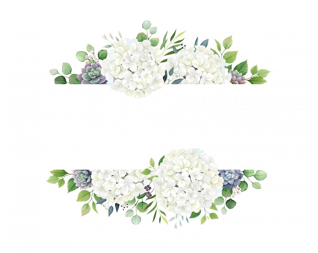Greenery, white hydrangea and succulent frame border
