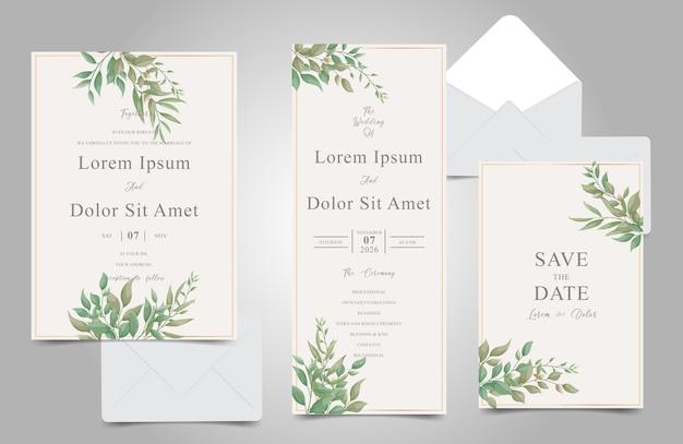 Набор шаблонов свадебных приглашений greenery с элегантной листвой