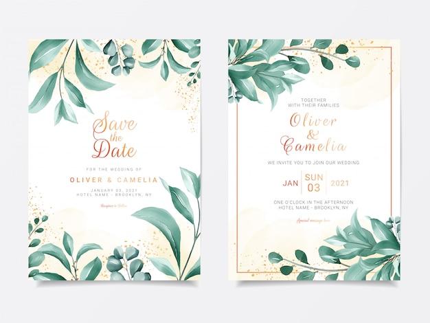 Свадебный пригласительный шаблон greenery с элегантной рамкой из листьев
