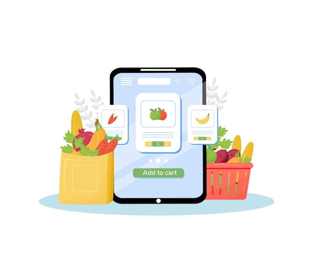 Greengrocery online ordering flat concept illustration. vegetables and fruits store, fresh organic produce delivery service. internet grocery mobile application creative idea