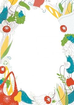 八百屋は空のフレーム手描きイラストを購入します。野菜のリサイクル可能なバッグフラットカラーの境界線。新鮮な果物や野菜、白い背景の上の環境にやさしいバッグのオーガニック製品