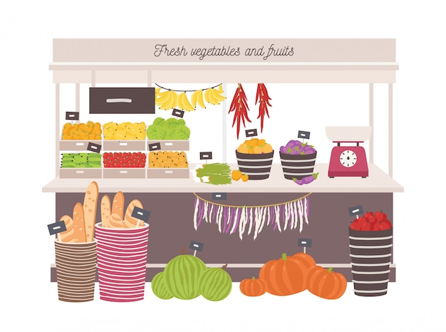 Greengrocery shop with awning or marketplace with fresh fruits, vegetables, scales and price tags. place for selling organic food products on local farmers market. flat cartoon vector illustration