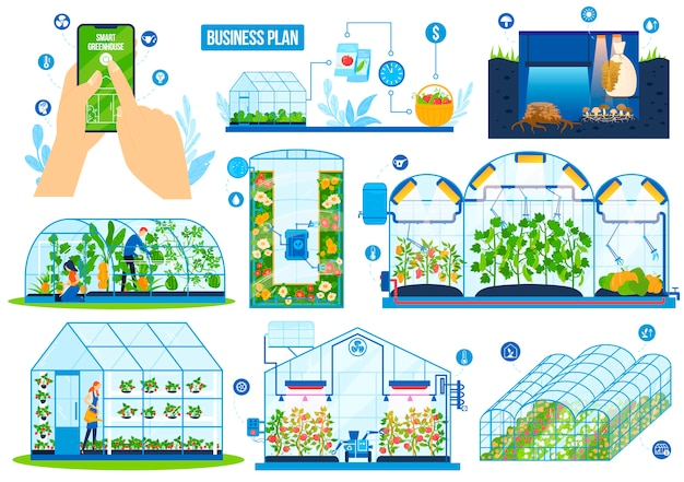 Greenhouse agriculture technology vector illustration set.