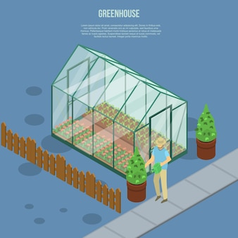 Greenhouse banner, isometric style