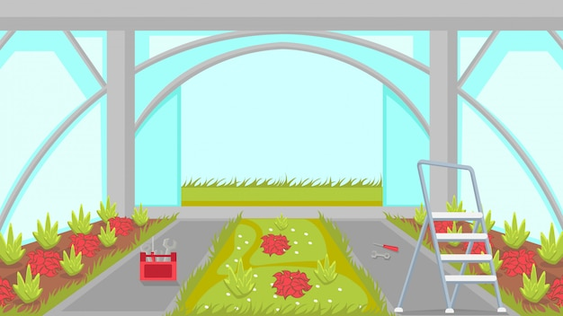 Greenhouse building process vector illustration