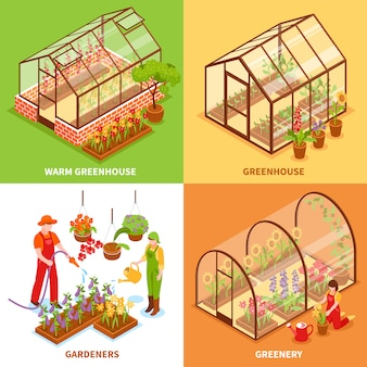 Greenhouse design concept set