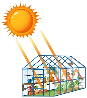 The greenhouse effect with sunlight to green house