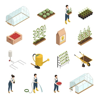 Greenhouse elements isometric elements set