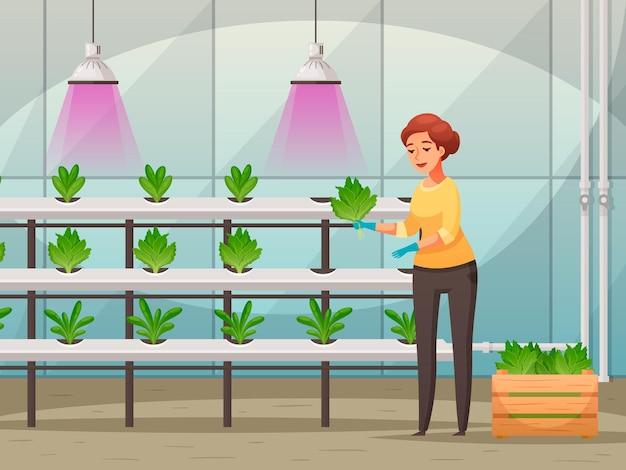 Led 빛 영양소 만화와 온실 농업 그림