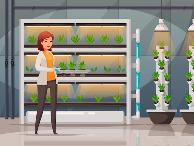 Технология тепличного земледелия с символами световых и температурных условий карикатура иллюстрации