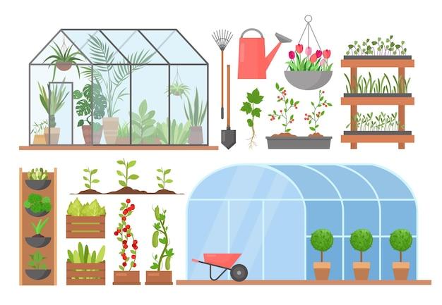 천연 유기 농산물을위한 온실 꽃 식물 야채 재배 온실