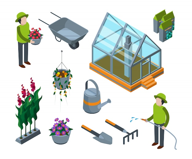 Greenhouse flowers. agricultural  3d glass house with plants vegetables fruits trees nursery  isometric s
