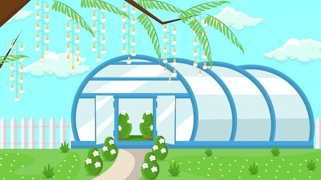 Greenhouse in garden flat vector illustration