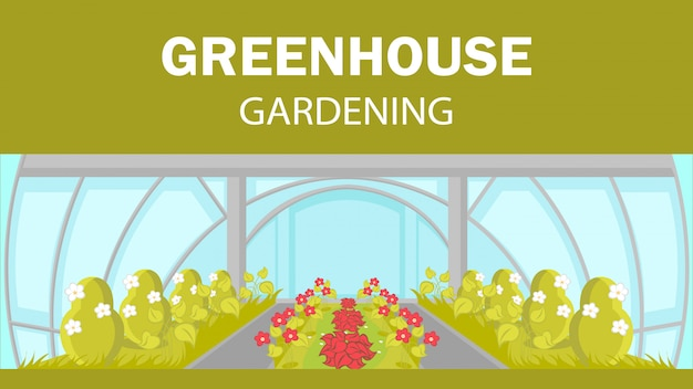 Greenhouse gardening web banner vector template