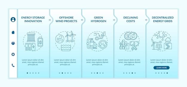 온실 가스 배출량 인포 그래픽 템플릿. 해상 풍력 에너지 프리젠 테이션 디자인 요소. 5 단계의 데이터 시각화. 타임 라인 차트를 처리합니다. 선형 아이콘이있는 워크 플로 레이아웃