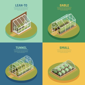 Greenhouse hothouse conservatory isometric template set