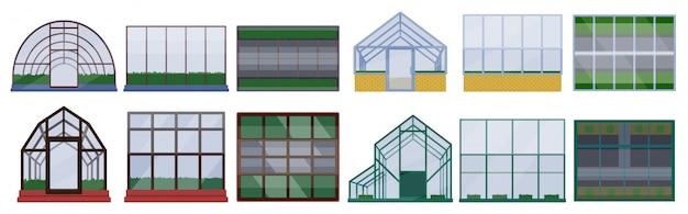 白い背景の上の温室の図。漫画セットアイコングラスハウス。漫画セットアイコン温室