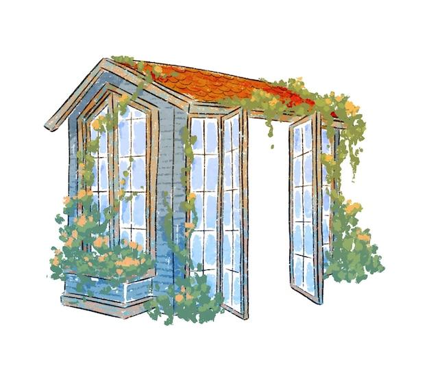 정원 그림에서 온실