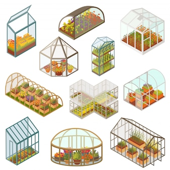 Greenhouse isometric illustrations, growing plants and flowers in farm garden, 3d isolated icon set on white