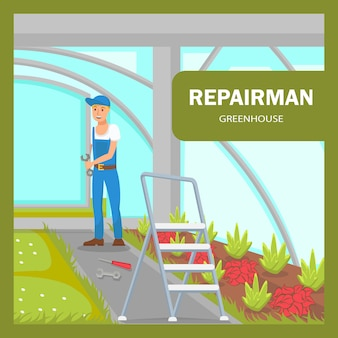 Greenhouse maintenance poster flat vector template