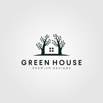 회색에 고립 된 온실 자연 나무 로고