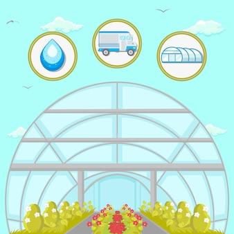 Greenhouse plantation flat vector illustration