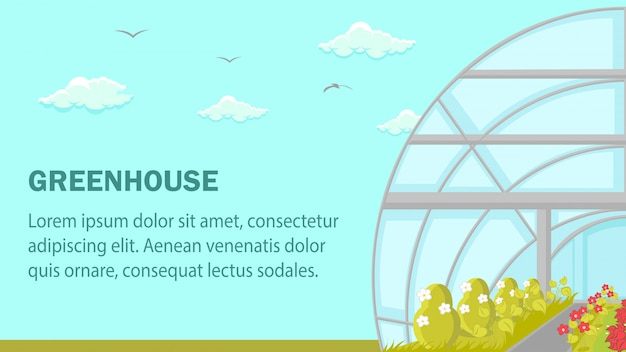 Greenhouse plants cultivation web banner template