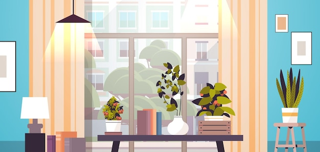 Greenhouse potted plants on table gardening concept living room interior horizontal
