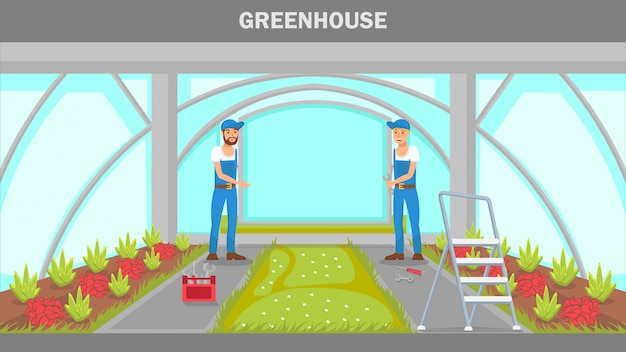 Greenhouse repairing web banner vector template