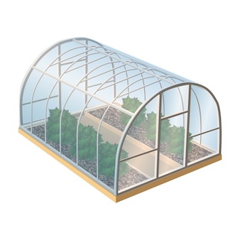 Greenhouse with plants and glass. isolated illustration icon on white background.
