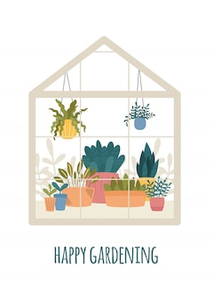 Greenhouse with potted garden plants  illustration, cute scandinavian hygge style.glass green house seasonal greeting card, happy gardening.conservatory with growing plants in pots and planters