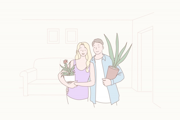 Greening, comfort, joint, family, house warming, illustration.