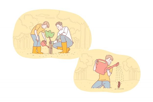 Greening, fatherhood, childhood, care set concept