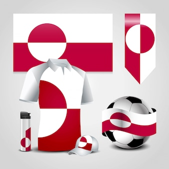 Greenland country flag place on t-shirt, lighter, soccer ball, football and sports hat