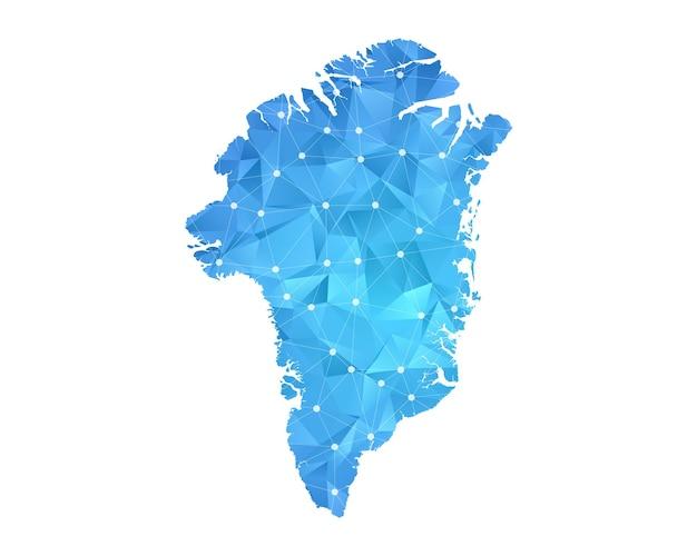 グリーンランドマップラインドット多角形抽象的な幾何学的。