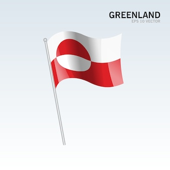Greenland waving flag isolated on gray background