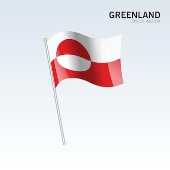 회색 배경에 고립 된 깃발을 흔들며 그린란드