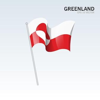 그린란드 회색에 고립 된 깃발을 흔들며
