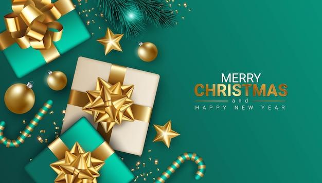 Greenmerry рождества и счастливого нового года дизайн баннера иллюстрация