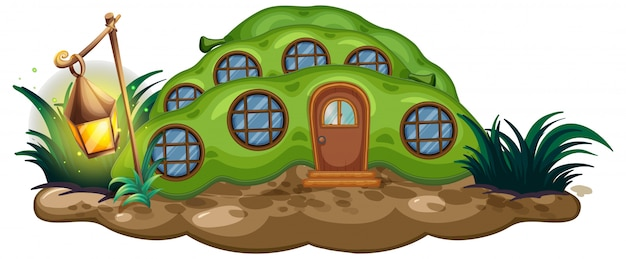 Greenpea house and lantern in garden