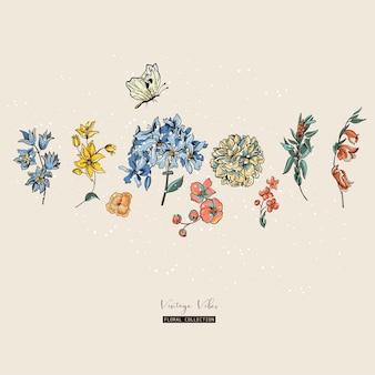 ビンテージベクトル花greetinカード。結婚式招待状、自然のイラストの装飾
